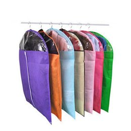 Wholesale Fabric Garments - Wholesale- New Arrival Storage Garment Bag Protective Cover Guards Cloth Against Dust Moths and Mildew Hot Sale