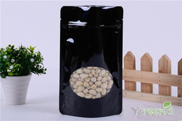 Wholesale Wholesale Black Ziplock Foil Bags - Export 10pcs 15x23cm Black color Aluminum Foil Bag with Window, Stand up Ziplock Food Bags, TEA NUT COFFEE BEAN PACKING BAGS