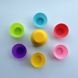 Wholesale Silicone Bake Forms - Wholesale-10Pcs lot DIY Kitchen Cake Tool Bakeware Muffin Cups Silica Gel Baking Mould Diameter 7CM Small Cake Form Muffin Cup