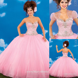 Wholesale Top Sexy Ball - Sexy Pink Quinceanera Dresses 2015 New Corset Crystals Sequined Beads Top Ball Gown Ruched Organza Ragazza Girls Sweet 16 Party Gowns