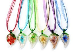 Wholesale Venetian Glass Flowers - wholesale 6pcs handmade mix color Italian venetian 3D Transparent Leaf Flower Lampwork murano glass pendant 3+1 silk necklaces