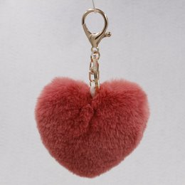 Wholesale Shape Animals Toy Car - Lovely Heart Shaped Pom Poms Faux Rabbit Fur Ball Toy Doll Bag Car Key Ring Monster Keychain Jewelry Gift For Women Girls