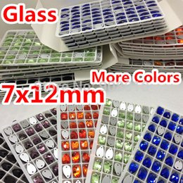 Wholesale Droplet Sew Stones - Wholesale-More Colors 432pcs 7x12mm Teardrop Sew On Stone 2 Holes Flatback Droplet Sewing Glass Crystal Orange,Aquamarine,Siam AB