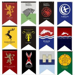Wholesale Game Posters - Game of Thrones Flag Banner House Stark Lannister Greyjoy Arryn Flags Banners Printed Fabric Poster Collectible Accessories CCA7864 24pcs