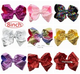 Wholesale Handmade Headbands For Girls - 8inch jojo Super big rainbow Bow Handmade Boutique Sequin Hair Bow For Girl Hair Accessories With Clip Headwear 8colors choose free ship