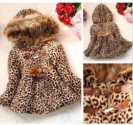Wholesale fur hoodie clothing - 2014 Winter Baby Girls Kids Faux Fur Leopard Hoodie Coat Clothes Jacket Clothes Free shipping