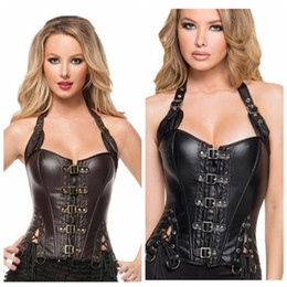Wholesale Brown Leather Underbust - S-2XL Hot Sex Rubber Covering Rubber Waist Trainer Cinchers Underbust Corset Body Shaper Shapewear PU Black Brown Corset Waist Slimming Belt