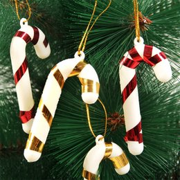 Wholesale Western Ornaments - Christmas Trees Decoration Colorful Little Walking Sticks Lovely Hangings Western Festival Party Home Crutch 100pcs lot