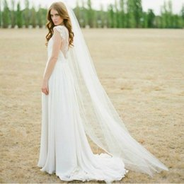 Wholesale Chapel Length Soft Tulle Veil - In Stock 2015 Soft Tulle Veils Fingertip With Comb Veil One Layer Bridal Veil Ivory Bride Veil For Wedding Bridal Accessories