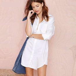 Wholesale Sexy Loose Shirts - Sexy Womens Shirts Casual Long Sleeve Loose Boyfriend T Shirt Top Blouse Dress