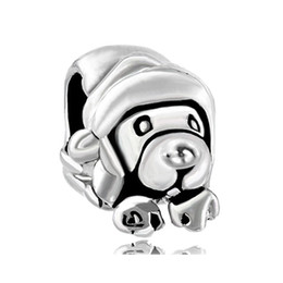 Wholesale Enamel Dog Charms - Alloy Material With Rhodium Silver Color Plating cute puppy dog Bead Black Enamel Charm Fit Pandora Bracelet