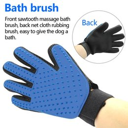 Wholesale Dog Glove Hair Brush - 2017 New Pet Silicone Glove Grooming Brush Gentle Efficient Bath Dog Cat Gloves For Removing Hair pet bathing From Domestic Animals