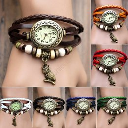 Wholesale Antique Belt Bracelet - Watches For Women Watches Wristwatches Watch Leather Wrist Watch Charm Bracelet Retro Vintage Owl Pendant Weave Wrap Quartz 7 Colors