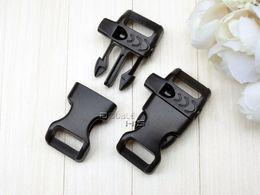 "Wholesale Survival Bracelet Whistle Buckles - 50pcs lot 5 8""(14mm) Emergency Side Release Whistle Buckles For Paracord Bracelet Backpack Survival Kits Black"