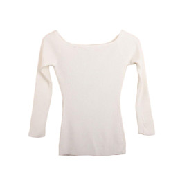Wholesale Strapless Sweaters - S5Q Womens Autumn Winter Slim Formal Slit Neckline Strapless Thicken Top Sweater AAAFMX