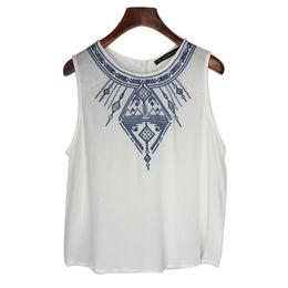 Wholesale Blouse T Shirt Women - 2015 New Black White Fashion Summer Women Embroidery Sleeveless Retro Totem Printed T-Shirt Blouses Vest Tank Tops Free Shipping