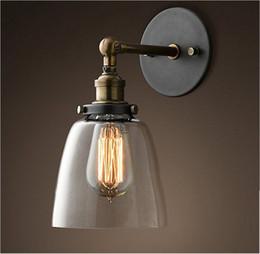 2019 iluminación industrial vintage diy Loft Vintage Industrial Sombra de vidrio Edison Loft Barra de café Aplique de pared Lámpara de almacén de luz de pared DIY Edison E27 Bombillas rebajas iluminación industrial vintage diy