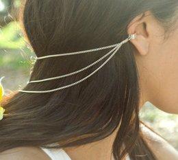 Wholesale Ear Cuff Band - European and American trade fashion jewelry new simple 2 with a multi-beam chain tassel ear hair clip hair band hair accessories B146