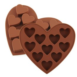 Wholesale Silicone Heart Shaped Chocolate Mould - 10PCS Heart Shape Silicone Cake Cookie Chocolate Mold Mould Ice Cube Tray Baking Tool Free Shipping 00956