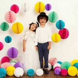 "Wholesale Holiday Christmas Wreaths - 500PCS 10"" 12"" 25 30cm Paper Honeycomb Flower Ball Party Stage Background Wedding Decoration Birthday Holiday Festive Christmas Lanterns"