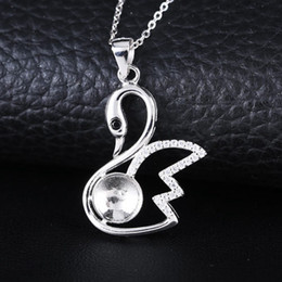Wholesale Real White Pearl Necklace - Real Sterling Silver 925 Plated White Gold Crystal Pendant for Women Semi Mount Pendant 7mm8mm9mm Round Bear Pearl Fine Jewelry Setting Swan