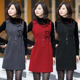 Wholesale Working Woolen - High-quality large-size women's Slim woolen dress vest bow vest dress sleeveless dress