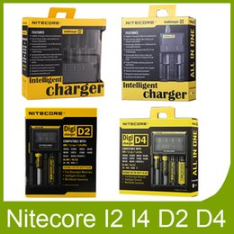 Wholesale Universal Battery Charger I4 - Authentic Nitecore I1 I2 I4 I8 D2 D4 Universal Intellicharger LCD Display Charger for genuine 18650 18350 18500 14500 Li-on Battery
