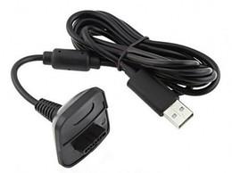Argentina Al por mayor-Nuevo cargador de carga USB negro Kit de cable de carga de cable de carga rápida para Microsoft para la consola del controlador inalámbrico Xbox 360 # F1030 cheap xbox lead Suministro