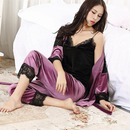 Wholesale Woman Elegant Pajamas - 2017 Winter Autumn Women Pajamas Of 3 Piece Set Sexy Elegant Bathrobe Pleuche Lace Sleepwear Ladies Soft Homewear High Quality Woman Clothes