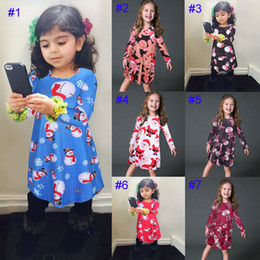 Wholesale Family Matching Winter Clothes - Girl INS Christmas Dress 2017 New Children Cartoon Snowman Santa Claus elk long sleeve dresses Family Matching Outfits daughter clothes B001