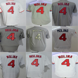 Wholesale womens jersey tops - 2016 New TOP Quality St. Louis Mens Womens Kids Toddlers #4 Yadier Molina Jersey White Grey Baseball Jerseys,Embroidery Logo,XS~6XL