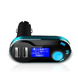 Double sd mp3 en Ligne-AUX T66 Dual USB Chargeur Kit voiture sans fil Bluetooth Kit mains libres Lecteur MP3 Transmetteur FM Prise en charge SD Entrée de ligne