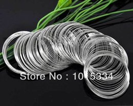 Wholesale 55mm Bracelet - Wholesale-Free Shipping 1000 Loops Silver Tone Memory Beading Wire for Bracelet 50-55mm Dia.