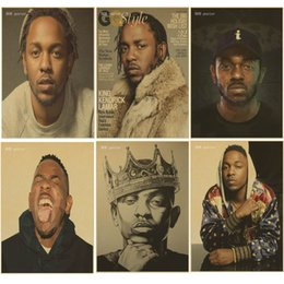 Wholesale Posters Hip Hop - Hip hop Rap singer retro poster Kendrick Lamar poster home Wall Decor kraft brown paper vintage poster wall stickers