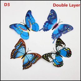 Wholesale Double Exhaust - Single Double Layer Room Butterfly Decoration colorful 3D wedding Butterflies Wall sticker PVC Wall stickers kids gifts J090206#DHL FREESHIP
