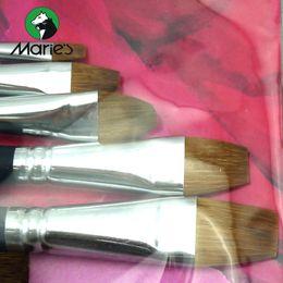 Wholesale Flat Liner Brush - Wholesale-Marie's 7pcs Gouache Color Brushes Set 1 Weasel Mix Wool Vanish Brush Liner Flat(wash) Brush Filbert Art Supplies G1927