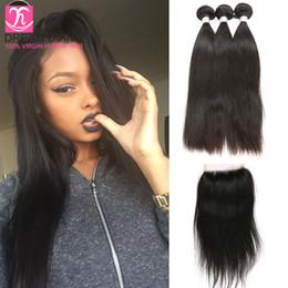 Wholesale Closure Straight Hair - brazillian straight hair straight hair with closure brazilian hair with closure hair weave grade 8a hair extension weft remy