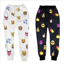 Wholesale Men Cartoon Pants - 2017 New men Emoji print pants funny cartoon sweatpants black & white thicken loose joggers harem trousers sportswear female clothes SUPERB!
