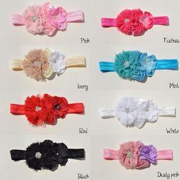 Wholesale Multi Color Chiffon Headbands - Baby Headband Chiffon Flowers With Double Mini Satin Flower With Hydrangea flower FOE Headbands 20PCS LOT QueenBaby