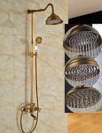 "Wholesale Tubs Brass Shower Head - Luxury Elegant Antique Brass 8"" Round Rain Shower Head Faucet Bathroom Tub Faucet Spout + Handheld Shower Wall Mounted"