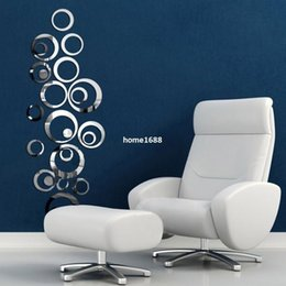 Wholesale Wall Decals Circles - Hillsionly 2015 Hot Sales Circles Mirror Style Removable Decal Vinyl Art Wall Sticker Home Decor