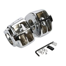 Wholesale Chrome Switch Housings - Chrome Black Switch Housing Cover For Harley Dyna Softail Wide Glide FXST FX