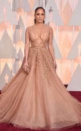 Wholesale Celebrity Tulle Oscar Dresses - Oscars 2017 Red Carpet Beaded Evening Dresses Jennifer Lopez In Elie Saab Celebrity Dress Pearls Nude Tulle Appliqued Backless Prom Gown