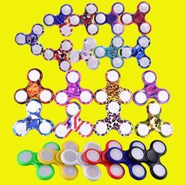 Wholesale Newest Toy Led - Newest LED Light Hand Spinners Fidget Spinner Triangle Finger Spinning Top Colorful Decompression Fingers Tip Toys DHL OTH384