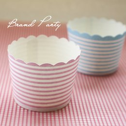 Wholesale Muffin Cake Baking Paper Cups - Cake Mould Cupcake Tool Mini Muffin Baking Cups Blue and Pink Bands Cupcake Wrapper, Cupcake Liners Greaseproof Paper Cases