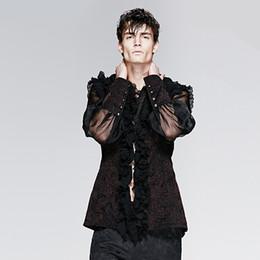 Wholesale Punk Rave Shirt - Wholesale-PUNK RAVE Gothic Gorgeous Man Shirt with High Collar Solid Regular Dobby Camisa Masculina Mens Punkrave Summer Dobby Man Shirt