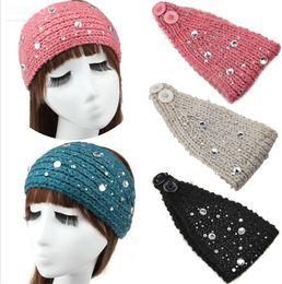 Wholesale Knit Headbands Rhinestones - Womens Adults Crochet Winter Autumn Warm Rhinestone Knitting Headbands Hat Fashion wide headwrap winter hair accessories Ear warmers WHA54