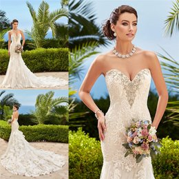 Wholesale Sweetheart Neckline Trumpet Wedding Dress - 2016 Full Lace Wedding Dresses Beaded Sweetheart Neckline Mermaid Bridal Gown Kitty Chen Spring Wedding Gowns