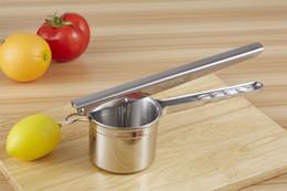 Wholesale Kitchen Fruit Press - 2016 New Design Multifunction Stainless Steel Potato Masher Ricer Puree Fruit Vegetable Juicer Crusher Press Squeezer Maker Kitchen Tools