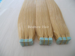 Wholesale Cheap Tape Hair Extensions - Cheap Indian Hair Remy Seamless Skin Weft Blue Tape Human Hair Extensions 100G 40PCS Grade 7A